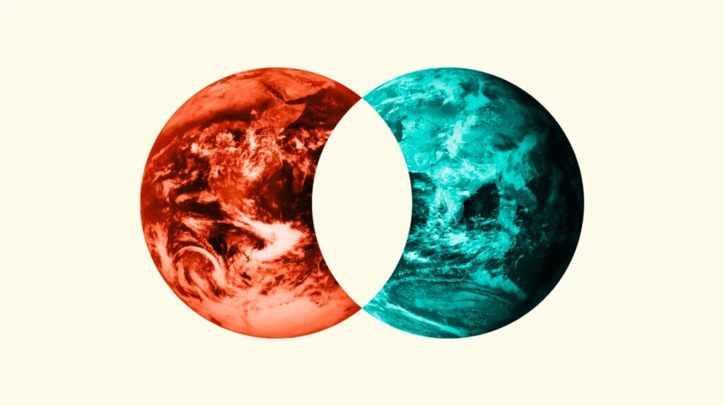 Collage of an intersection between a Red Earth and a Blue Earth