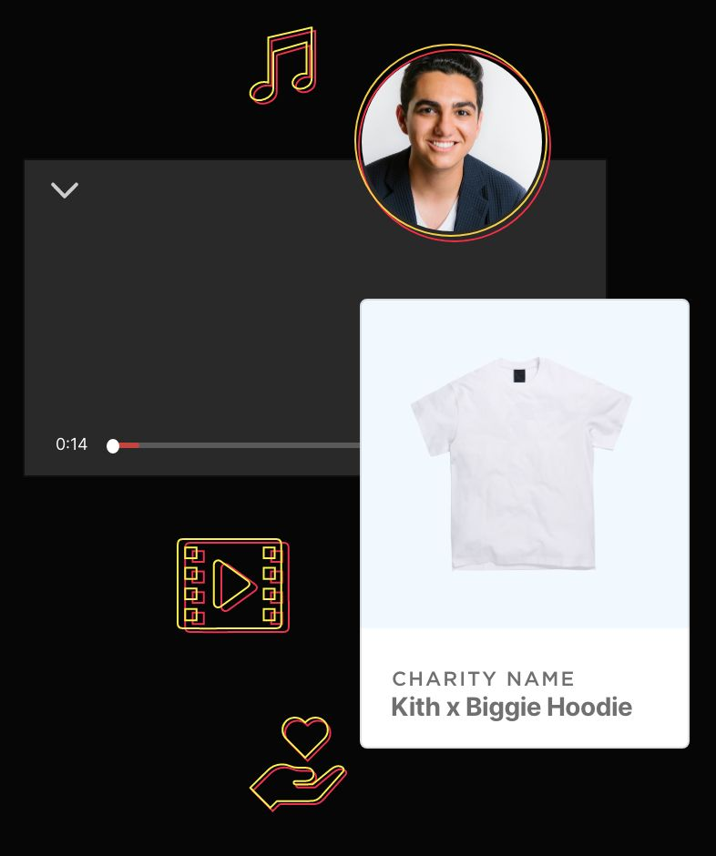 Milan, music icon, media icon, hand with a heart icon, media player and a White T-Shirt